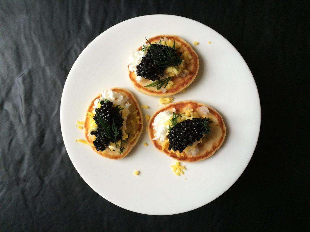 Sturgeon caviar and homemade blinis