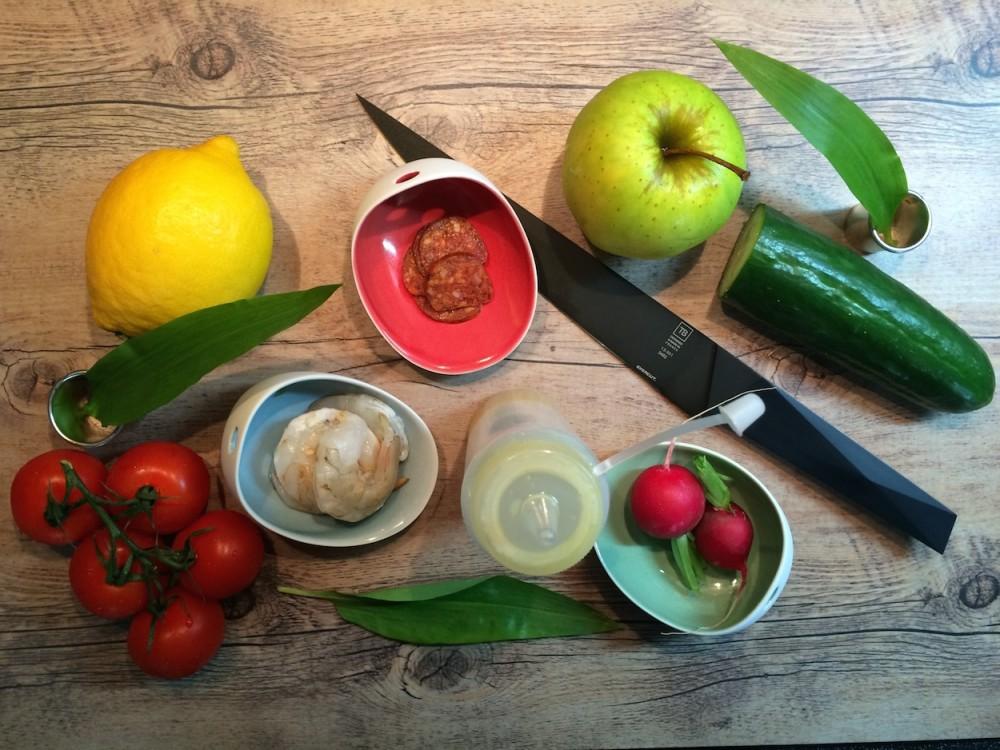 Zeleninový tartar, krevety a mangalica klobása