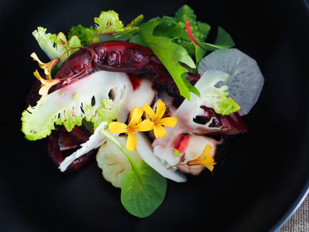 Jumbo squid with beetroot sauce, broccoli and cauliflower