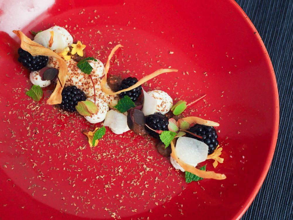Parsnip variation, blackberries, ricotta and tonka bean