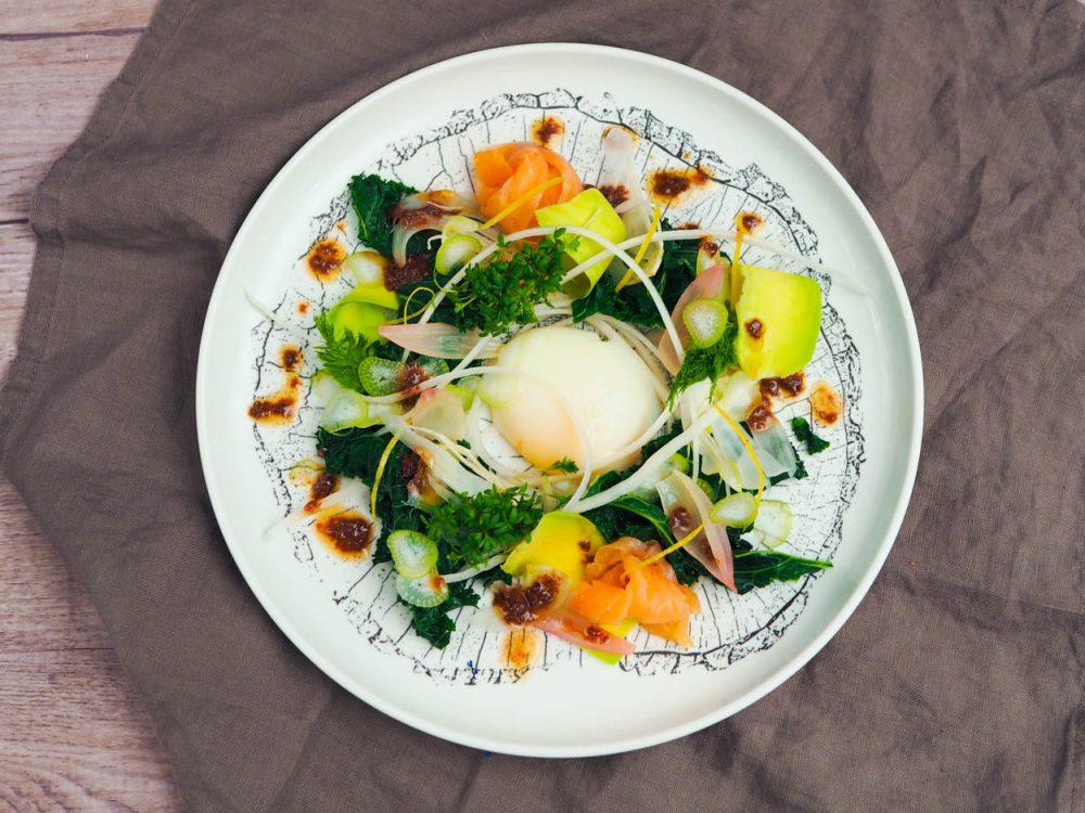 Salad with sous vide egg, olive vinaigrette