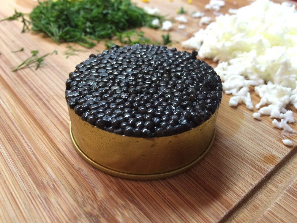 Sturgeon caviar and homemade blinis