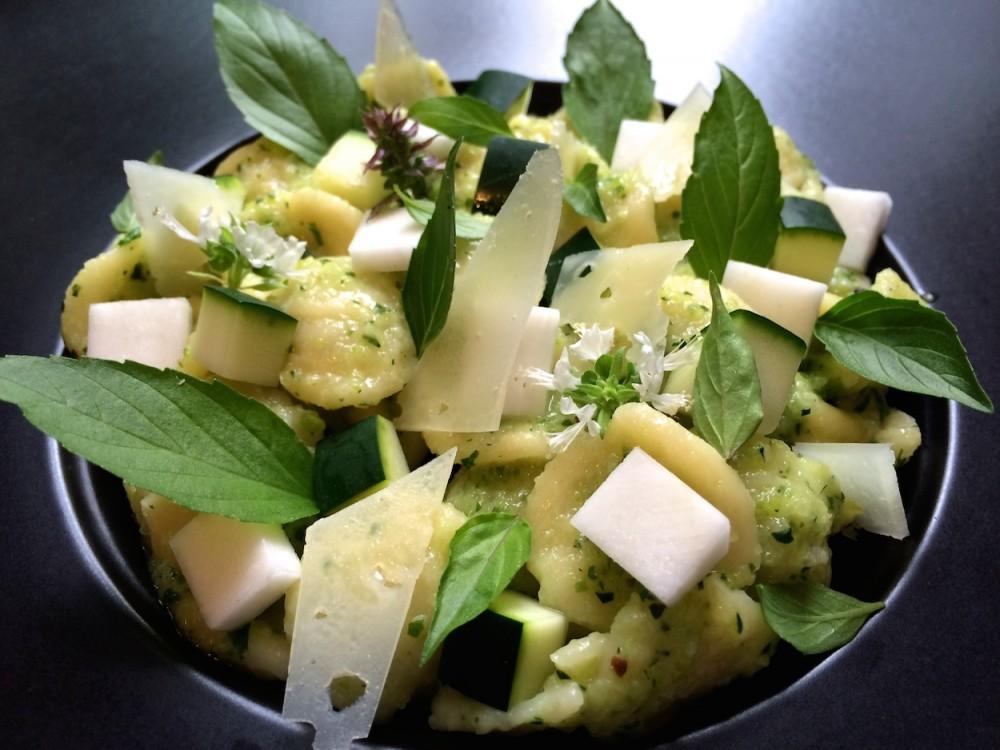 Orecchiette with zucchini pesto and thai basil