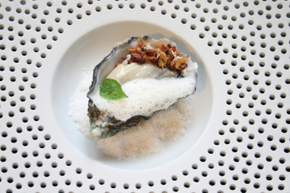 Oysters, leeks, bacon breadcrumbs and prosecco foam