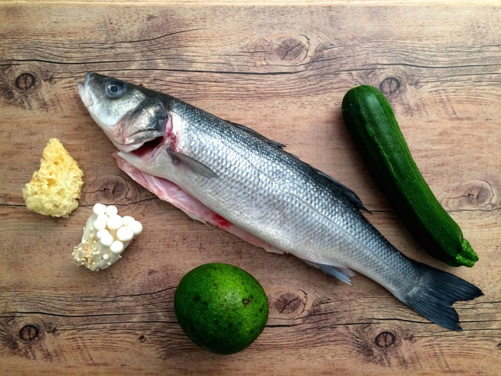Poached sea bass, shimeji, snow fungus and fish stock