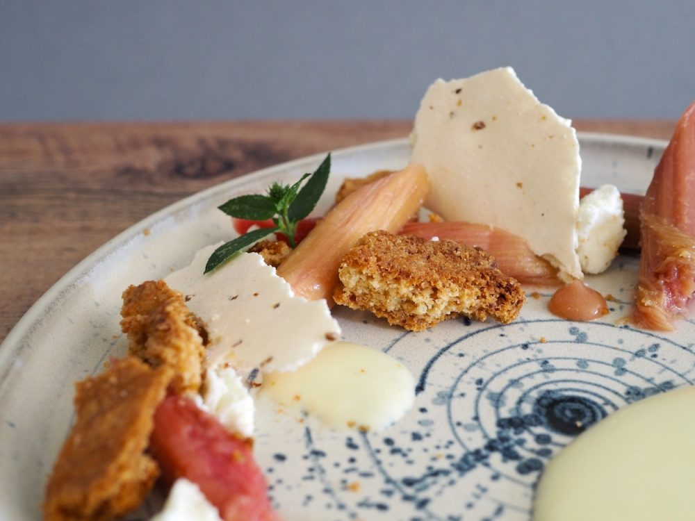 Rhubarb with cardamom, sheep cheese and ginger biscuit