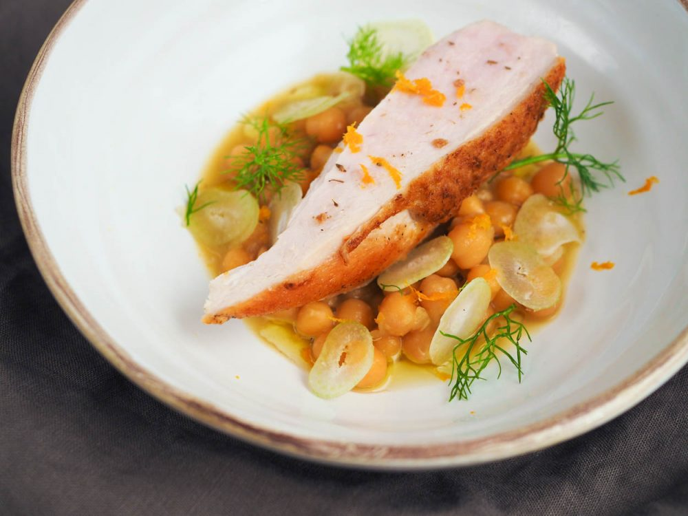 Sous vide chicken breasts, orange chickpeas and fennel