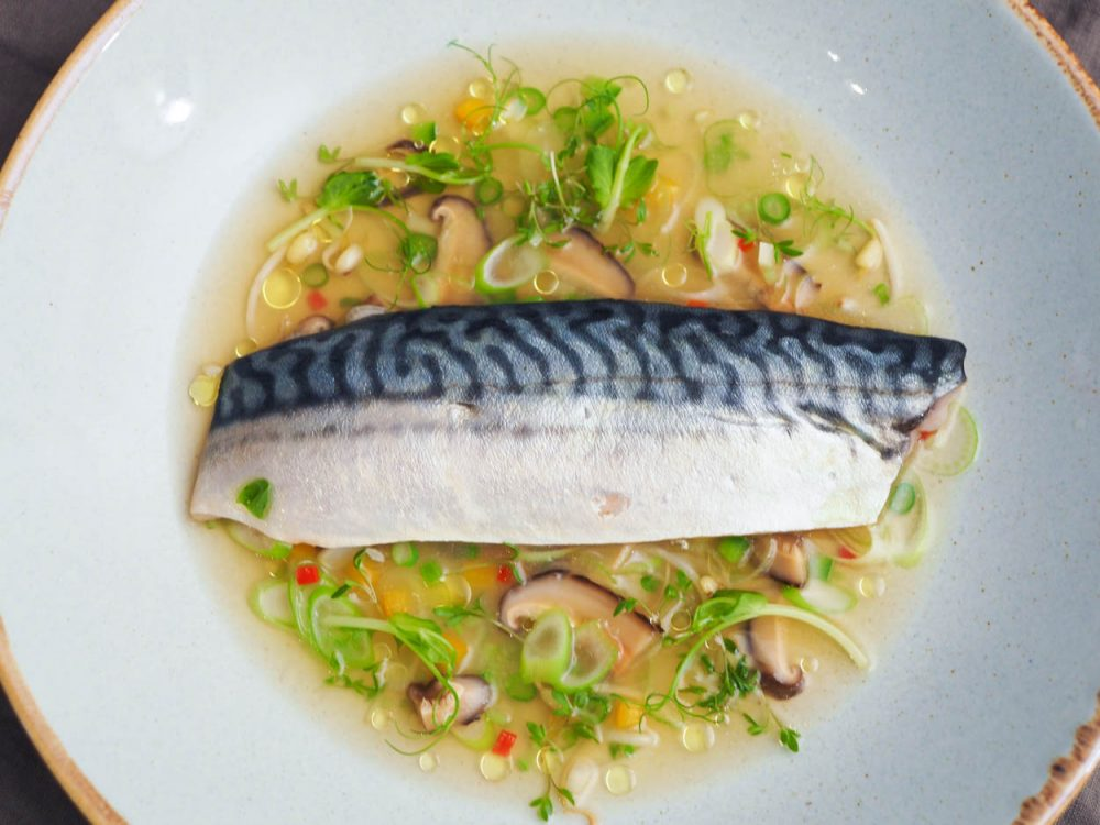 Sous vide mackerel, consommé and vegetables