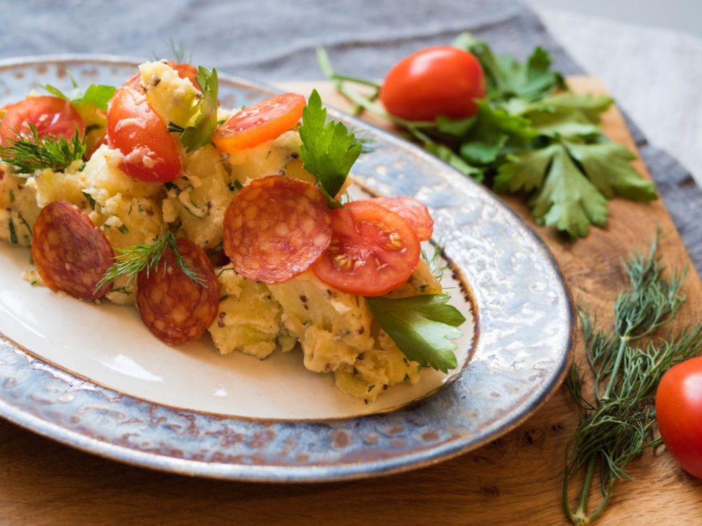 Potato salad with salami