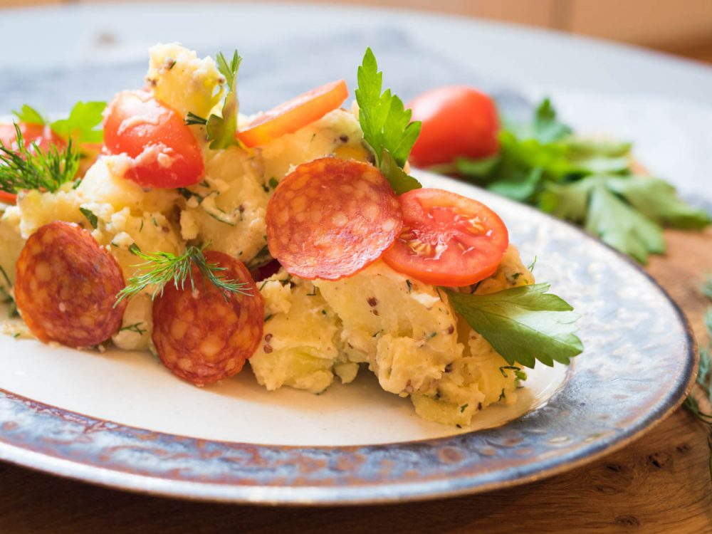 Potato salad with salami
