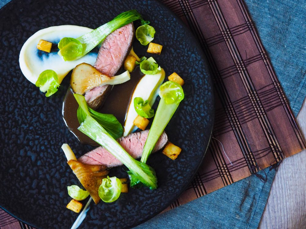 Rump steak sous vide, celeriac, oyster mushrooms and pak choi