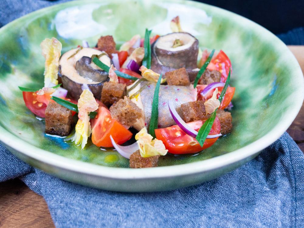Marinovaný siven s rajčatovým salátem